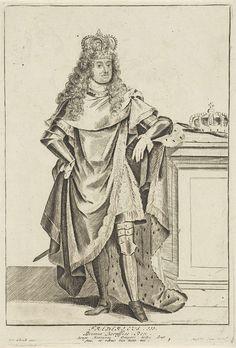 Anonymous   Portret van Frederik I van Pruisen, Anonymous, Pieter Schenk (I), unknown, 1675 - 1711   Frederik I, koning in Pruisen en als Frederik III, keurvorst van Brandenburg. Hij was van 1688 tot 1701 keurvorst van Brandenburg en tot zijn dood Frederik I koning van Pruisen. Hij draagt een kroon en een mantel, afgezet met hermelijnen.
