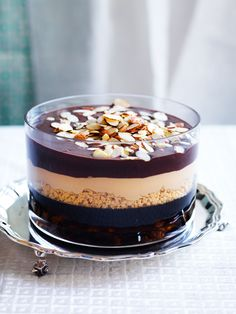 Pedro Ximenez jelly with chocolate and caramel layers recipe : SBS Food