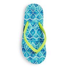 Girls' Lyala Printed Flip Flop Sandals Cat & Jack - Blue XL, Durable