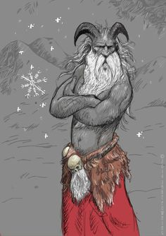 "Digital drawing by Jake Powning of the Krampus, an alpine European Yule tradition. Krampus is the goat horned Christmas devil who deals with the naughty ones. There are Icelandic hexrunes falling as snow, and he has a special bearded sporan. This was also kind of inspired by the Norwegian horror movie from 2010 ""Rare Exports: A Christmas Tale""— If you haven't yet, watch it this Christmas ;)"