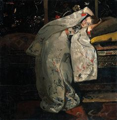 Meisje in Kimono - George Hendrik Breitner, 1894 from rijksmuseum.nl Inspired by Japanese prints, Breitner made at least twelve paintings around 1894 of a girl in a kimono. Geesje Kwak, here aged was a hat-seller and one of Breitner's regular models. Art And Illustration, Japanese Prints, Japanese Art, Japanese Kimono, Canvas Art, Canvas Prints, Art Prints, Figure Painting, Painting & Drawing