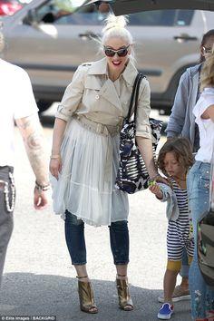A hair-raising look! Gwen Stefani steps out bizarre coat for church #dailymail