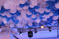 Blue & White Ceiling Balloons with Shimmer Ribbon & LED Sparkle Ribbon