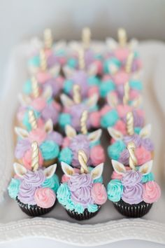 Baby's 1st Birthday! Unicorn Birthday! Unicorn cupcakes. Whimsical cupcakes