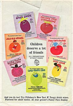 """Pillsbury """" Funny Face """" Artificially Sweetened Imitation Drink Mix - ' Children Deserve a lot of friends ' (( 1967 )) 