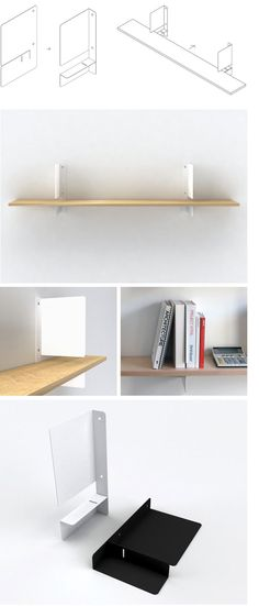 Holly Shelf by Henry Julier: a shelf bracket that combines two important but previously separate functions - shelf support and bookend.