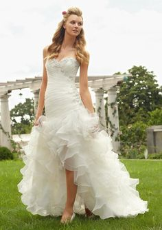 Floor Length Organza Sweetheart Fit N Flare Wedding Dress With Ruffles