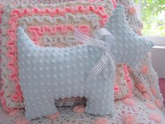 Vintage Chenille Scottie Westie Dog Pillow With Bow by ellelilly