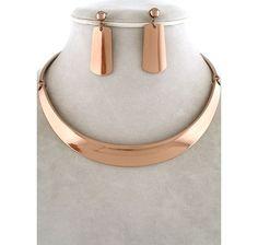 High Polish Copper Tone Choker Design Collar Necklace Earrings Jewelry Unikloo $21.99