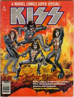 Kiss comic from 1977.  I think almost every teenage boy I knew at that time did the Kiss face paint for Halloween.