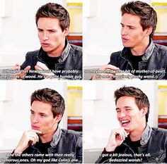Eddie Redmayne about Newt's wand and being a bit jealous of Colin's bedazzled wand