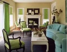 Love The Bright Green And Aqua Turquoise Together My Livingroom May Just Have To