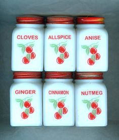 """Red Top Milk Glass """"Cherries"""" Sweet Spice Lot, 6pc"""