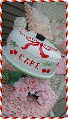 Handpainted CHERRY Cake Cover  by from my cherry heart, via Flickr