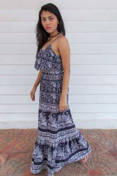 Floral Maxi Dress In B/W Summer Style
