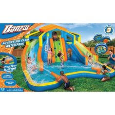 Banzai Adventure Club Water Park (Dual Inflatable Water Slides, Cannons, Basketball Hoop and Overhead Sprinkler), Multicolor Basketball Park, Basketball Quotes, Basketball Birthday, Basketball Leagues, Backyard Water Parks, Backyard Pools, Inflatable Water Park, Water Sprinkler, Water Play