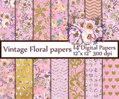 """Pink Digital Paper Pack: """"FLORAL DIGITAL PAPERS"""" Vintage papers Shabby Chic papers Floral pattern Floral background decoupage papers"""