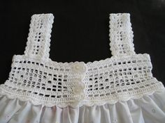 Items similar to Baby Dress Crocheted Cotton Top and Eyelet Skirt Sundress or Jumper Style SZ 9 – 12 mos on Etsy - Kindermode 2020 Crochet Yoke, Crochet Girls, Crochet Baby Clothes, Cotton Crochet, Filet Crochet, Thread Crochet, Crochet Patterns, Diy Crafts Knitting, Diy Crafts Crochet