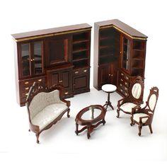 1:12 scale Luxury Mahogany Living Room Set
