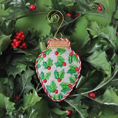 Have a Holly Jolly Christmas with our Holly Ornament (#2816)!! B&B #needlepoint