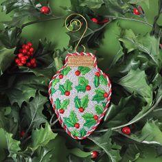 Holly Ornament (#2816) Needlepoint