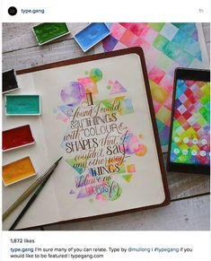 Inspiring quote beautifully illustrated with amazing hand lettered typography and water colour shape illustration