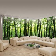Foto De Pared Murales Papel Pintado no tejido Decoración panorámica Bosque De Esquina Grande 444VEE