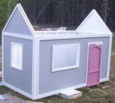 Ana White | Build a Playhouse Back Wall | Free and Easy DIY Project and Furniture Plans    Cost without floor or windows about 150.