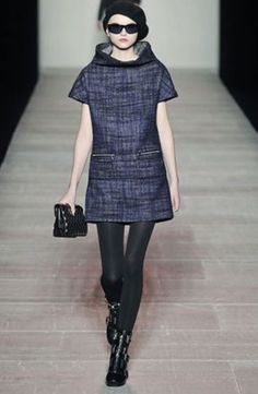 Marc By Marc Jacobs Runway Fall 2008 Blue Funnel Neck Tweed Dress Sz L #MarcByMarcJacobs