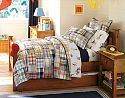 I think I like this quilt for the boys shared bedroom.  Mot the sheets - Madras & Curious George™ | Pottery Barn Kids