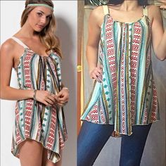 TRIBAL PRINT SLEEVELESS TUNIC / MINI DRESS MADE IN USA - This effortless, slouchy sleeveless multi print tribal tunic / mini dress features cream colored soft straps (thick enough to cover a bra strap) with dropped armholes and a slightly low back. Made of 100% Polyester. Have S(2-4) M(6-8) L(10-12) made for a perfectly relaxed fit. This will be your favorite go-to tunic! Price is absolutely firm and sold out everywhere! You may purchase this listing as I've created individual listings for…