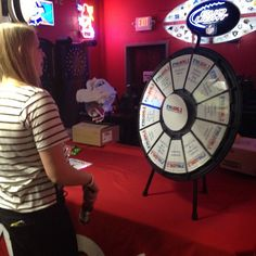Stop by and spin the prize wheel before @kramergirl comes on stage at Route 20 Outgouse! #MKECountry -- Buy this Prize Wheel at http://PrizeWheel.com/products/tabletop-prize-wheels/tabletop-black-clicker-prize-wheel-12-slot/.