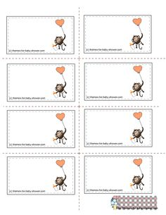 FREE MONKEY printable tAGS   This is image of a smiling monkey sitting in a baby cart with leaves ...