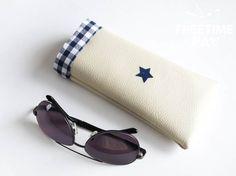Tuto DIY fabriquer un étui à lunettes tissus vichy, du simili cuir et du flock