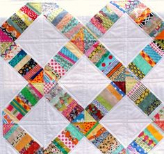 String Quilt Some little gaffer might like this ! Scrappy Quilts, Easy Quilts, Quilting Projects, Quilting Designs, Scrap Quilt Patterns, String Quilts, Quilt Tutorials, Machine Quilting, Quilt Making