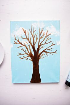 Paint With Broccoli: Fun Stamped Spring Tree - Welcome To Nana's Spring Art Projects, Spring Crafts For Kids, Art For Kids, Craft Kids, Kid Art, Toddler Arts And Crafts, Arts And Crafts Kits, Elderly Crafts, Fun Activities For Toddlers
