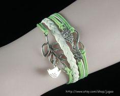 Wax Cords Bracelet Mint Green Bracelet Infinity Bracelet by JuGao, $4.90