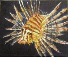 Una idea, mucho arte  Pez león o escorpión Acrílico y masilla ligera sobre tela, 40 x 30 cm   Autor Manolo López