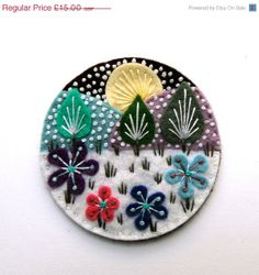 FLASH SALE SNOWSCAPE felt brooch pin with freeform embroidery - scandinavian style