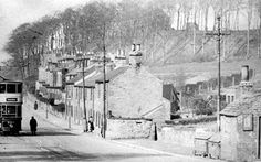 Tram No 290 @ Psalter Lane, from junction with Ecclesall Road South and Banner Cross Tram Termini. The end cottage, nearest the camera, is the 'Weigh House', former Toll House. The row of cottages behind it were named Banner Cross Cottages