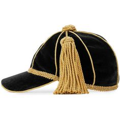 Gucci Velvet Cap With Tassel ($570) ❤ liked on Polyvore featuring accessories, hats, black, tassel cap, gucci, cap hats, cord cap and baseball caps