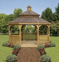 have always wanted a gazebo- like the path leading to this one; but I would have different flowers