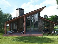 View full picture gallery of Anna Lopatkina Villa Design, Roof Design, Modern House Plans, Modern House Design, Mountain Home Exterior, Mountain Homes, Futuristic Architecture, Industrial House, House Roof
