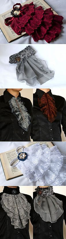 Diy jabot cravat neckerchief pattern ideas / make from scraps or old clothes Steampunk Costume, Steampunk Fashion, Diy Clothing, Sewing Clothes, Diy Fashion, Womens Fashion, Fashion Design, Steampunk Accessoires, Creation Couture