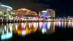 Darling Harbour city lights - Sydney.