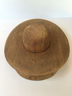 Antique Millinery Wooden Hat Block Mold & Flange Matching Paired Set 6 7/8""