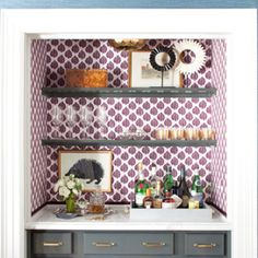 wallpapered bar nook in a closet // bars