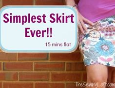 Super simple skirt can be made in 15 minutes. No pattern needed. Just fabric, elastic and basic sewing tools. Make it today, wear it tonight!