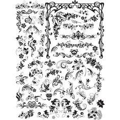 abstract beautiful line art free vector decorative swirls flowers border frame design set