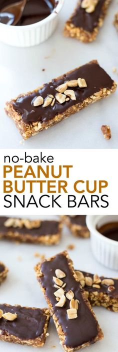 No-Bake Peanut Butter Cup Snack Bars: An addictive 5-ingredient snack, breakfast, or dessert that's gluten free, vegan, and healthy! They taste just like a candy bar! || fooduzzi.com recipes